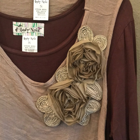1XL Lady Noiz Layered Long Sleeve Tunic Shirt Top Blouse Brown Tan